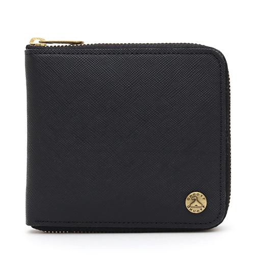 GNUOYP(ニュピ) ラウンドジップ ウォレット 二つ折り財布 ブラック