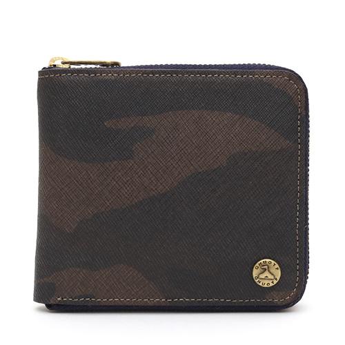 GNUOYP(ニュピ) ラウンドジップ ウォレット 二つ折り財布 サフィアーノミリタリー